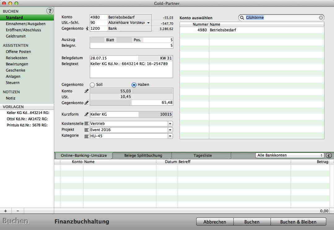 Mac Programm zum Buchen - Hilfe beim Buchen - Buchhaltungsvorlagen ...